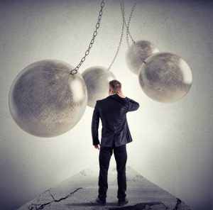 Businessman ball chains